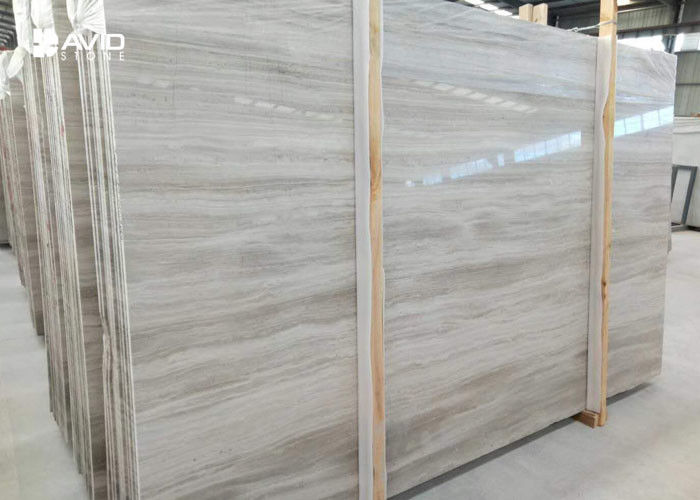 White Wood Vein Marble Natural Stone Slabs For Wall Cover / Flooring Decor